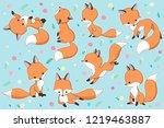 vector red fox set. cute... | Shutterstock .eps vector #1219463887