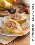 half pear with cottage cheese ...   Shutterstock . vector #1219467061