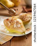 half pear with cottage cheese ...   Shutterstock . vector #1219467064