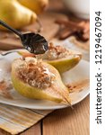 pears with cottage cheese  nuts ...   Shutterstock . vector #1219467094
