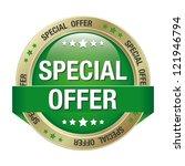special offer green gold button ... | Shutterstock .eps vector #121946794