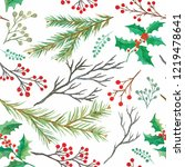watercolor decorative christmas ... | Shutterstock . vector #1219478641