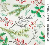 watercolor decorative christmas ... | Shutterstock . vector #1219478674