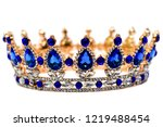 gold crown with blue jewel of... | Shutterstock . vector #1219488454