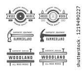 set of vintage carpentry ... | Shutterstock . vector #1219490227