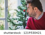 man depression during christmas ... | Shutterstock . vector #1219530421