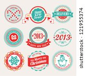 christmas set   labels and... | Shutterstock .eps vector #121955374