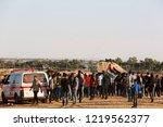 palestinian demonstrators... | Shutterstock . vector #1219562377