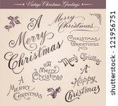 set of vintage christmas... | Shutterstock .eps vector #121956751