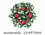 christmas advent wreath... | Shutterstock . vector #1219575904