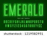 neon light 3d alphabet  extra... | Shutterstock .eps vector #1219582951