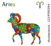 zodiac sign aries with filling...   Shutterstock . vector #1219590394