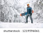 male with snowboard at winter... | Shutterstock . vector #1219596061