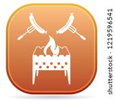 brazier and sausage icon.... | Shutterstock .eps vector #1219596541