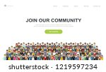 join our community. crowd of... | Shutterstock .eps vector #1219597234
