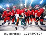 young children playing ice... | Shutterstock . vector #1219597627