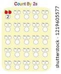 count by 2s practice worksheet  ... | Shutterstock .eps vector #1219605577