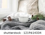 cozy winter morning breakfast... | Shutterstock . vector #1219614334