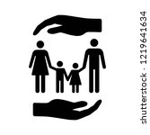 hand covering family with... | Shutterstock .eps vector #1219641634