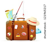 Old Travel Suitcase With...