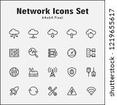 thin line icons set of network  ... | Shutterstock .eps vector #1219655617