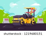 young man on asphalt paver at... | Shutterstock .eps vector #1219680151