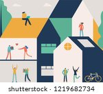 people activity in the house... | Shutterstock .eps vector #1219682734