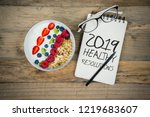 top view of glasses  pen  and... | Shutterstock . vector #1219683607