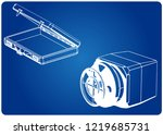 safe and case on a blue... | Shutterstock .eps vector #1219685731