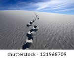 Small photo of Footprints on Alkali Flat Trail in White Sands National Monument, New Mexico, USA.