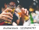 glass of cold beer bottoms up ... | Shutterstock . vector #1219694797