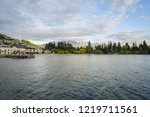 landscape of lake with... | Shutterstock . vector #1219711561