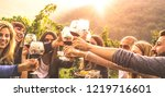 young friends having fun... | Shutterstock . vector #1219716601