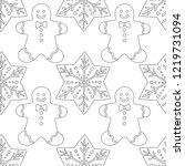 gingerbread. black and white...   Shutterstock .eps vector #1219731094