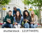 multi ethnic group of young... | Shutterstock . vector #1219744591