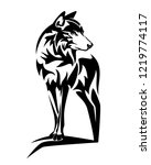 wild wolf standing on rock... | Shutterstock .eps vector #1219774117