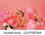 secretary kid in glasses with... | Shutterstock . vector #1219785364