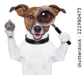 Dog With Magnifying Glass And...