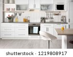 light modern kitchen interior... | Shutterstock . vector #1219808917