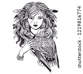 pretty witch with bird of prey. ...   Shutterstock .eps vector #1219816774