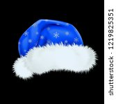 blue santa claus hat with the... | Shutterstock .eps vector #1219825351