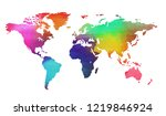 world map in watercolor style... | Shutterstock . vector #1219846924