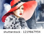 elegant lady with hat.... | Shutterstock . vector #1219867954