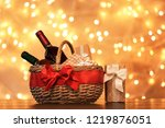 gift basket with bottles of... | Shutterstock . vector #1219876051