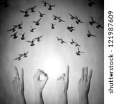 hand with 2013 number and flying doves new year black and white background - stock photo