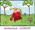hurrying girl | Shutterstock .eps vector #12198787