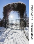 Small photo of Winter garden entrance with quickset gate, bright sun and beautiful shadows