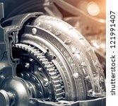 the car's engine closeup | Shutterstock . vector #121991407