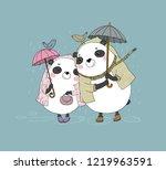 cute cartoon bears. autumn... | Shutterstock .eps vector #1219963591
