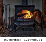 Fireplace With Burning Wood  ...